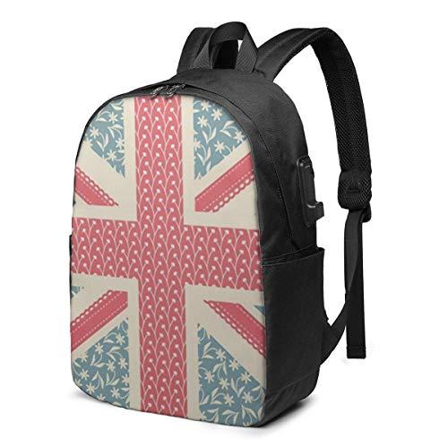 AOOEDM Vintage Floral Bandera británica Logo Símbolo Vintage Símbolo Logo Mochila para portátil Viajes de Negocios Mochila Duradera para portátiles con Puerto de Carga USB Bolsa de Ordenador para la