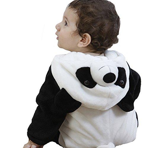 Doladola Unisex Baby Hooded Romper Tier Flanell Onesies (Panda, Größe 70 (Alter 3-6 Monate))