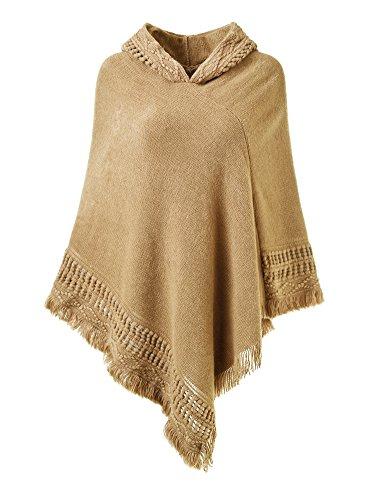 Ferand Damen Kapuzen Poncho mit Häkelborde, Cape für Frauen aus Strickmaterial mit Zierfransen, Khaki