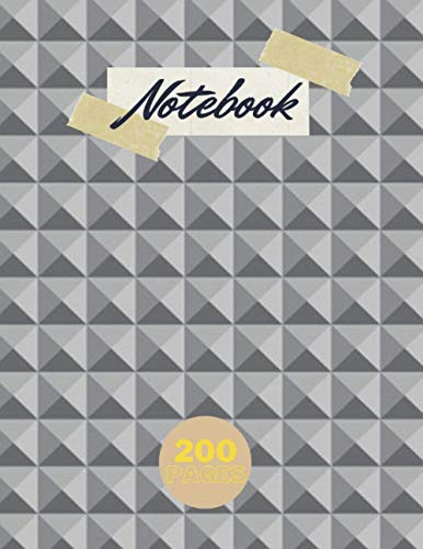 Notebook for writing notes 200 pages, Build cube metal abstract seamless pattern...