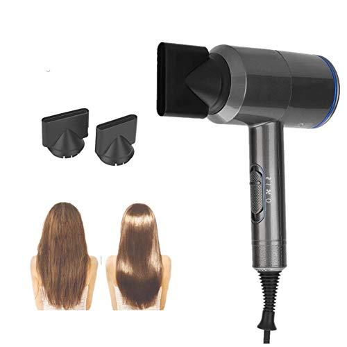 Sèche-cheveux professionnel 2000W, Sèche-cheveux 3D sans lames, Ion négatif, résistance à haute température, 6 vitesses avec système de contrôle de température intelligent(Bleu)