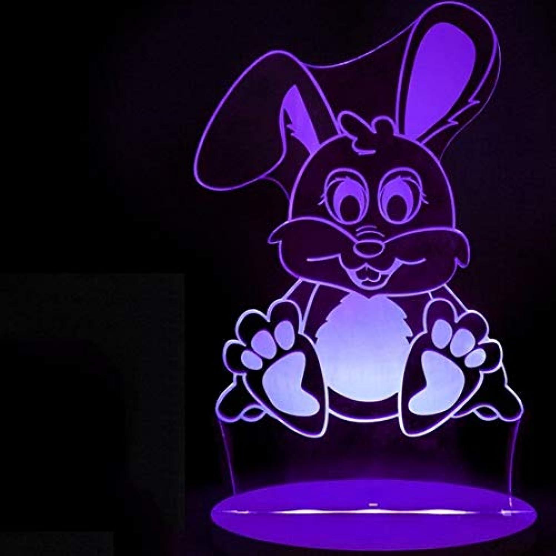 Laofan Berührungsschalter Led 3D Kaninchen Form Schreibtischlampe 7 Farbwechsel Tierbeleuchtung Haus Geschenk,Berührungsschalter
