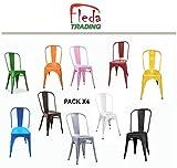 Fleda TRADING Sedia in Metallo Design Industriale - Tipo tòlix Confezione da 4 SEDIE Multicolor