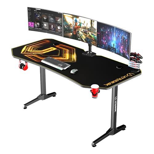 Ultradesk FRAG XXL Gold – Sehr großer Computertisch, L: 160cm T: 75cm H: 75cm, Gaming Tisch mit Langer Platte, Schreibtisch für Gamer