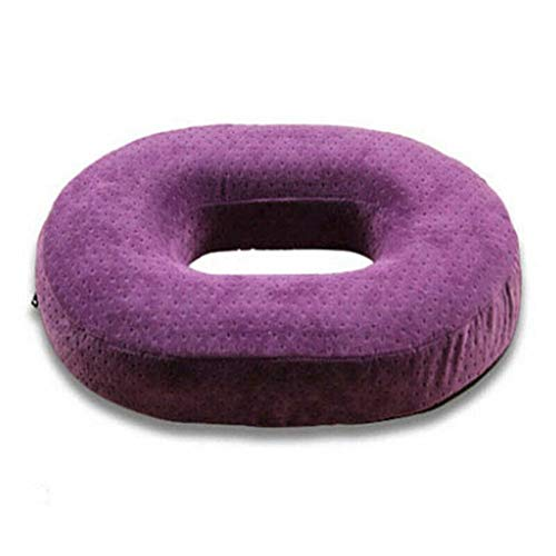 Memory Foam Comfort Donut Ring Chair Seat Coccyx Pain Relief Cushion Pillow for Pregnant Woman Sedentary People Travel Office (Color : Purple)