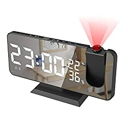Alarm Clock for Bedroom, Radio Digital Alarm Clock with USB Charger, 7.4 Large Mirror LED Display Projection Alarm Clock, Auto Dimmer Mode, Easy Snooze, Dual Loud Smart Alarm Clock for Heavy Sleepers