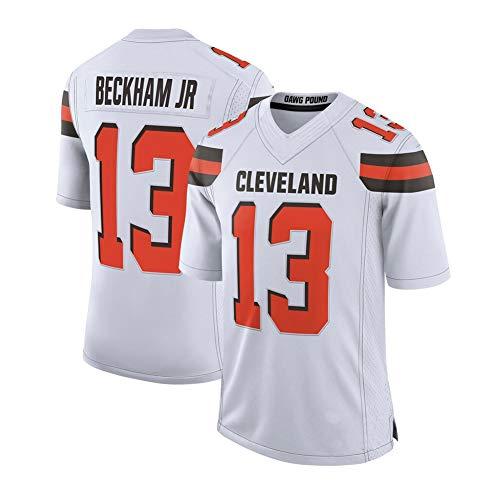 Odell Beckham JR #13 Cleveland Browns Herren Rugby-Trikot, Fußballtrikot, Stickerei, Kurzarm-Spiele, Trikots, Sport, unisex, atmungsaktives T-Shirt, wiederholbare Reinigung Gr. M, Weiß B