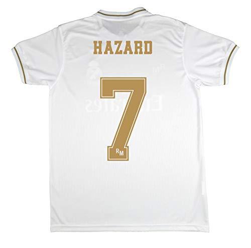 Real Madrid Camiseta Primera Equipación Infantil Hazard Producto Oficial Licenciado Temporada 2019-2020 Color Blanco (Blanco, Talla 12)