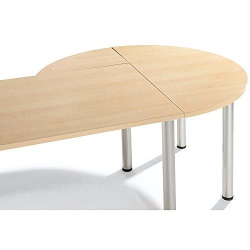 KYRO Ansatzplatte mit 2-Tischfüßen und Befestigungslaschen - Größe (B x H x T) cm, Ahorn hell, ohne Montage