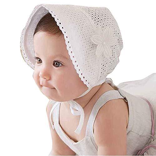 Chapeau Princesse Enfant,Ewendy Chapeau de gaze de dentelle de fleurs de filles Chapeau de soleil Bonnet de plage respirant et creux à 1-2 ans enfants
