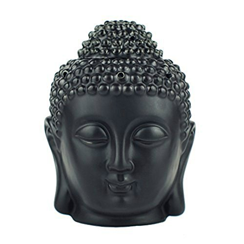 Buddha Head Statue Oil Burner Translucent Ceramic Aromatherapy Diffusers Home Decor (Black)