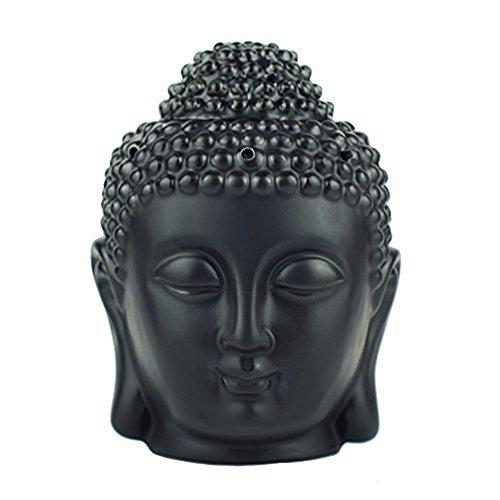 Moylor - Brucia-essenze a forma di testa di Buddha, in ceramica traslucida, per aromaterapia e decorazione per la casa (bianco e nero)