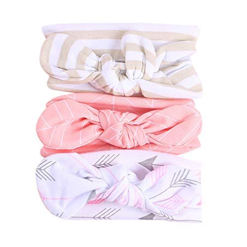 Fulltime_ Bébé Fille Bandeaux, 3pc Floraux Bandeau Dot Nœud Papillon Enfants Bandeau Cheveux Accessoires (Rose)
