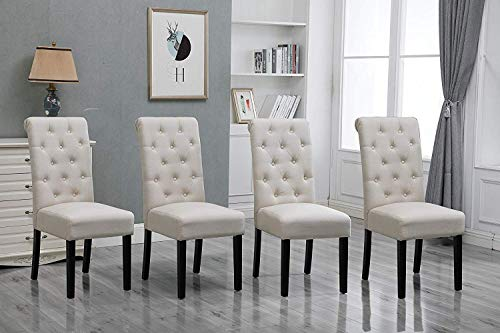 HomeSailing Modern Set of 4 Beige Dining Room Chairs Only Kitchen Chairs Button Tufted with Fabric Upholstered Padded for Accent Restaurant with Solid Black Legs