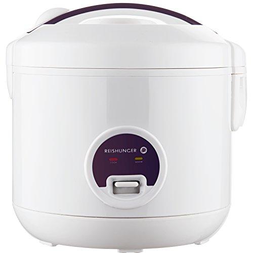Reishunger Reiskocher und Dampfgarer mit Warmhaltefunktion - Multikocher mit Dämpfeinsatz, Löffel und Messbecher, hochwertigem keramikbeschichtetem Innentopf