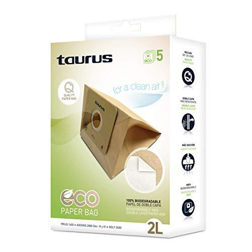 Taurus 999193000 Paquete de 5 bolsas de papel ECO para aspiradores trineo de 2 litros de capacidad, biodegradables, Plastic