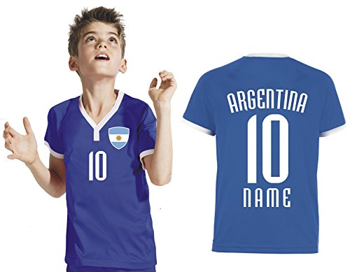 Aprom-Sports Argentinien Kinder Trikot - Hose Stutzen inkl. Druck Wunschname + Nr. RSG WM 2018 (152)