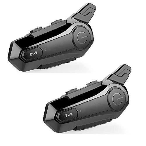 azorex Intercomunicador Bluetooth Moto Casco Microfono Incorporado para Llamada Mano Libre Bluetooth para Motocicleta Impermeable IPX6 Cancelación de Ruido (2 PCS)