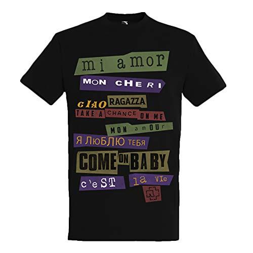 Rammstein Herren T-Shirt Ausländer Offizielles Band Merchandise Fan Shirt schwarz mit mehrfarbigem Front und Back Print (XL)