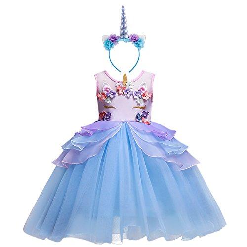 OBEEII Niña Vestido Unicornio Disfraz de Cosplay Traje Princesa Tutu Falda para Fiesta Cumpleaños Desfile Comunión Boda Flor Niñas Dama de Honor Velada Navidad Halloween 2 a 13 años