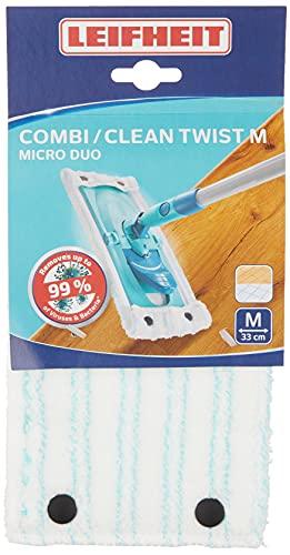 Leifheit Wischbezug Clean Twist M micro duo aus Mikrofaser, saugfähiger Bodenwischer Ersatzbezug, 33cm breiter Ersatzbezug ideal für glatte Böden wie Fliesen oder Laminat