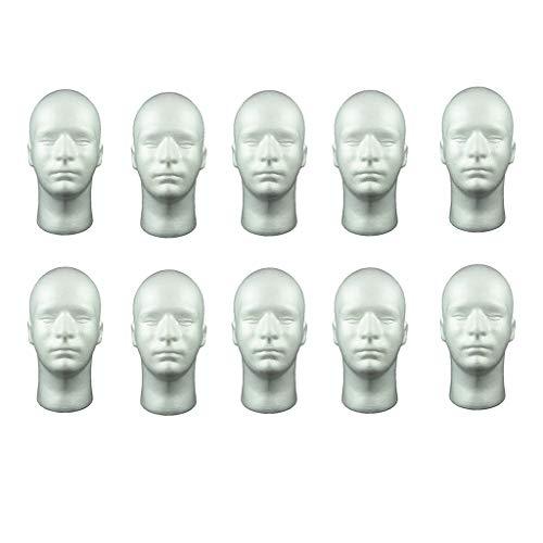harayaa Pacote com 10 manequins masculinos, cabeça falsa, realista, cabeça falsa, manequim para chapéu, óculos de sol, cabeça de manequim