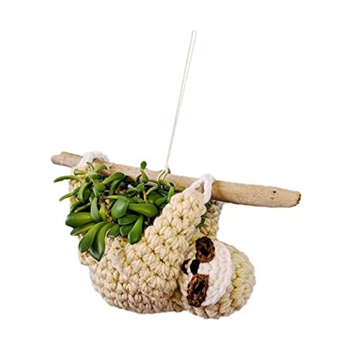 YMKT Bonita maceta colgante de tela de perezoso, adorno creativo de ganchillo para interiores y exteriores, ideal para macetas de 2 a 2.5 pulgadas de alto