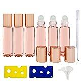 6 Piezas Botellas de Aceite Esencial Botellas Roll On de Vidrio Botella de Vidrio con Rodillo con Roll-on Bola de Acero Inoxidable para Aceites Esenciales Rosa