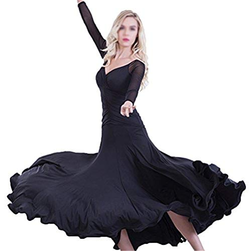 GXFXLP Damen Ballroom Tanz Performance Kleider Moderne Walzer Standard Ballsaal Damen Tanzkleid Ballettkleid Partykleid,Schwarz,XXXL