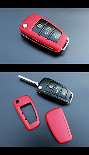 OriginalEuro Remote Flip Key Cover Case Skin Shell Cap Fob Protection Hull S Line Red for Audi