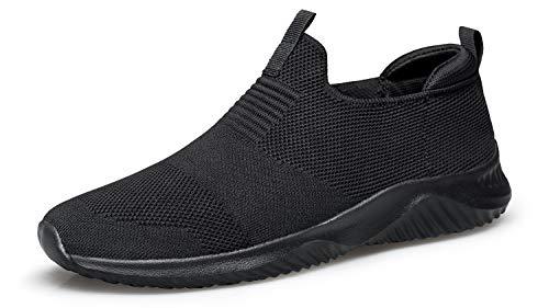 YHOON Women's Walking Shoes Slip on Sneakers - Lightweight Tennis Shoes Sock Sneakers All Black 6