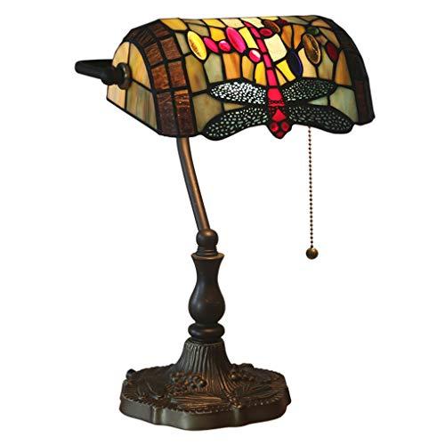 LANMOU Lámpara de Mesa Tiffany Lámpara Banquero Lámpara de Escritorio de Vitral Europeo Retro Lámpara de Noche con Interruptor de Tiro E27 Lámpara de Sobremesa para Salón Dormitorio Oficina