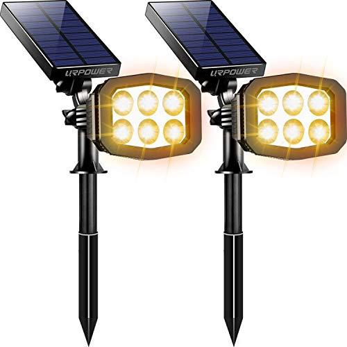 URPOWER Solar Lights Outdoor, Upgraded 2 Modes Solar Lights 2-in-1 Waterproof Solar Spotlight Auto On/Off Solar Wall Lights Pathway Lights Landscape Lighting for Yard Garden Pool- Warm White (2 Pack)