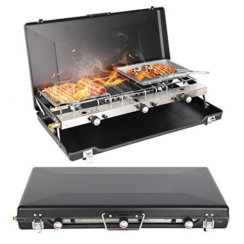 Stufa e griglia pieghevole a doppio bruciatore, mini barbecue da picnic da campeggio fornello a gas-griglia pieghevole portatile valigia design zaino in spalla per campeggio all'aperto