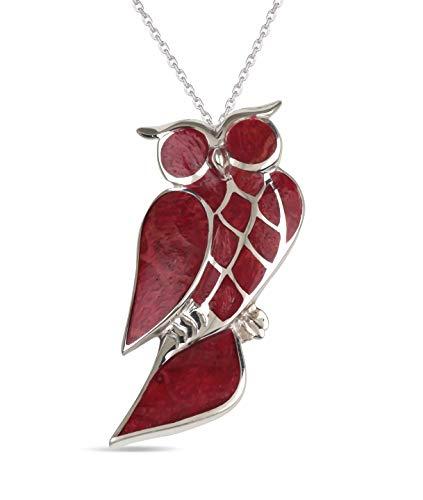 Aden's Jewels – Pendentif– Argent 925 K-Femme-Corail-Rouge-Hibou-Dimension 40 mm