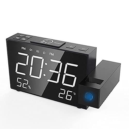 HYLK Proiezione della Sveglia Radio FM, Sveglia a Doppio Volume Snooze Tempo umidità Visualizzazione della Temperatura Orologio Orologi da Tavolo digitali