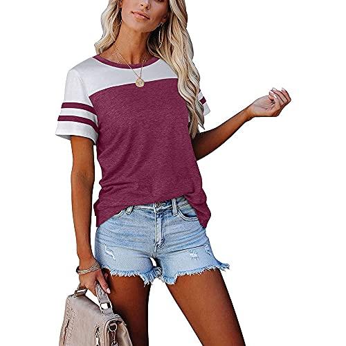 Camisa Mujer Top Mujer Elegante Cómodo Dulce Verano Mujer Camiseta Patchwork Moda Slim Fit Fibra Elástica Vacaciones Camiseta De Manga Corta G-Purple1 M