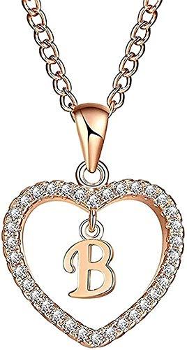 ZGYFJCH Co.,ltd Collar con Letras de Cristal Collar con Colgante de corazón Encantador con Nombre Mujer Color Oro Rosa Cadena de eslabones Accesorios de Bricolaje Regalos Regalo
