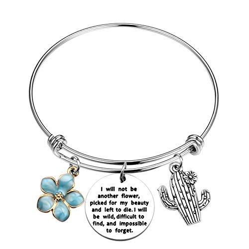 MYOSPARK Cactus Bracelet I Will Not Be Another Flower Inspirational Saguaro Jewelry Gifts for Cacti Lovers (wildflower cactus bracelet)