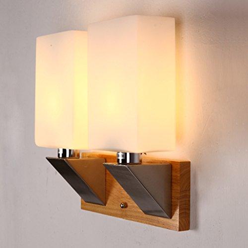 JSJ - Applique murale en bois lampe sur pied créative mur lampe murale Jane Applique murale de chambre à coucher lampe de lecture de chevet lampe de salon en bois massif