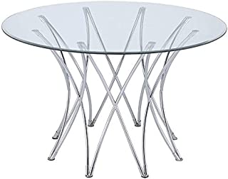 Coaster Cabianca Round Glass Top Dining Table in Chrome
