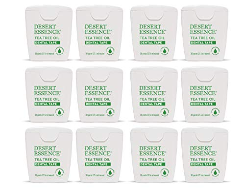 Desert Essence Tea Tree Oil Dental Tape - 30 Yards - Pack of 12 - Naturally Waxed w/ Beeswax - Thick Flossing No Shred Tape - On The Go - Removes Food Debris Buildup - Cruelty-Free Antiseptic