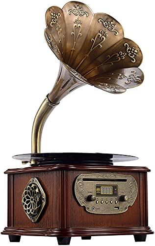 Wooden Phonograph Gramophone Turntable Vinyl Record Player Speakers Stereo System Control 33/45 RPM CD FM AUX USB Ouput Bluetooth 4.2