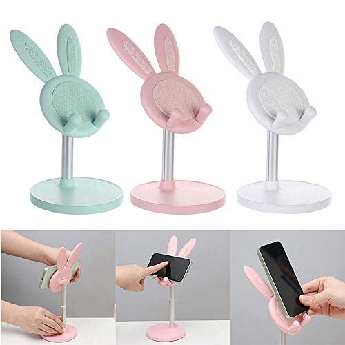 Cute Bunny Phone Holder Desktop Rack Tablet Stand Accesorios para teléfonos móviles (blanco)