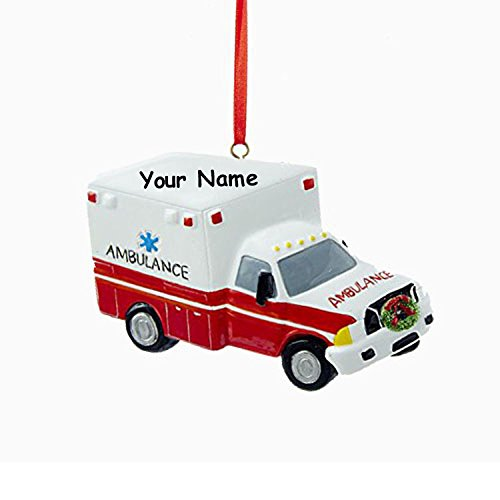 Kurt Adler Personalized Emergency Services Vehicle Ambulance Truck Hanging Christmas Ornament with Custom Name