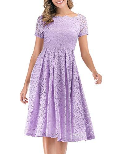 DRESSTELLS Women's Prom Vintage Floral Lace Tea Dress Boat Neck Cocktail Swing Dress Lavender 3XL