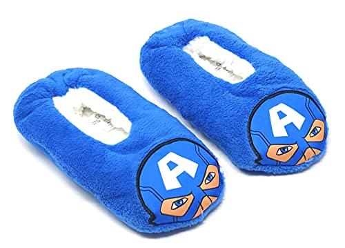 Pantuflas de interior de forro polar, para niño, diseño de Los Vengadores, Capitán América, color azul, del 25 al 32 (EU, numeric_25)