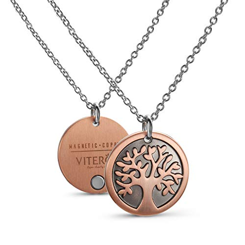 VITEROU Designed Magnetic Pure Copper Therapy Tree of Life Pendant Therapy Necklace Pain Relief for Neck Arthritis Migraine Headaches Shoulders and Back,3500 Gauss