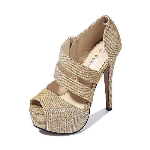 Phorecys – Sandalias de tacón alto para mujer con plataforma y puntera abierta, para fiesta, formal, con cremallera…
