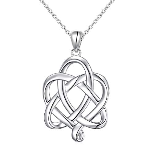 DAOCHONG S925 Sterling Silver Good Luck Irish Heart with Triangle Celtic Knot Vintage Pendant Necklace, Rolo Chain 18 inches